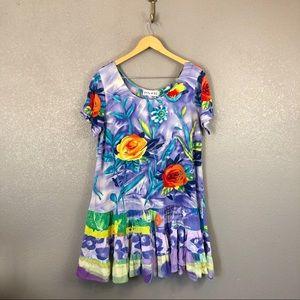 Jams World velvet rose print dress sz XL